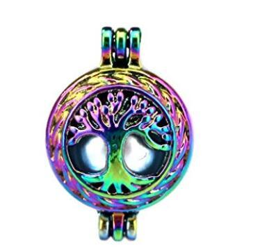 10Pcs Life Tree Rainbow Color Cage Pendant with 18 inch color chain Beads Oil Pearl Locket Necklace