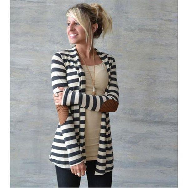 Plus la Taille Mode Automne Printemps Survêtement Femmes À Manches Longues À Rayures Cardigan Casual Coude Patchwork Tricoté Chandail Manteau A10 AU17
