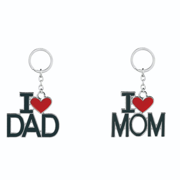Cute Letter I LOVE MAMA PAPA DAD MOM Keychain Car A Key Rings For Mom Dad Jewelry Ornaments Gift Parents Couple Gift #290380