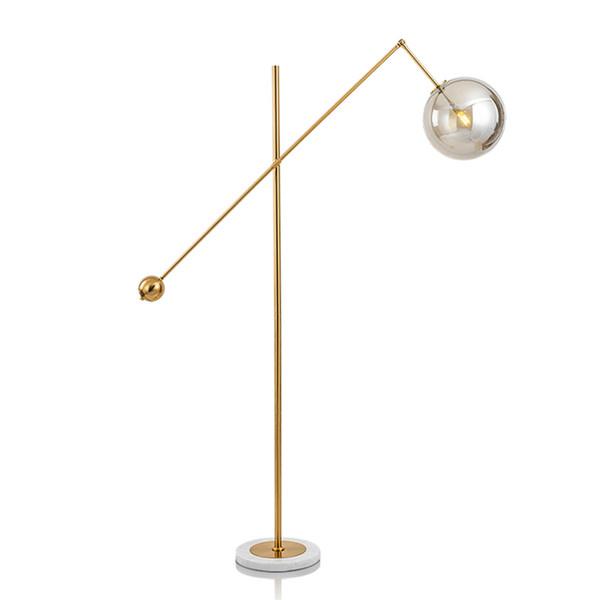 Acheter LAMPE DE PLANCHER LED Éclairage Intérieur Moderne Salon Éclairages  Morden Light Métal Galvanoplastie Verre Boule Abat Jour Base En Marbre De  ...