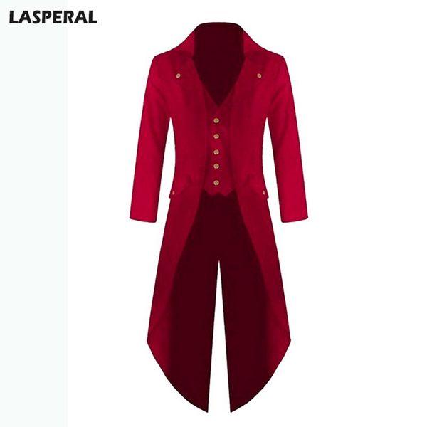 LASPERAL Long Jacket Coat Blazer For Men Plus Size Spring Autumn Fashion Solid Club Windbreaker Wedding Punk Retro Tuxedo 4xl