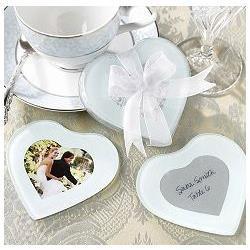 Factory sale 10pcs/lot Heart Shape Glass Photo Coaster