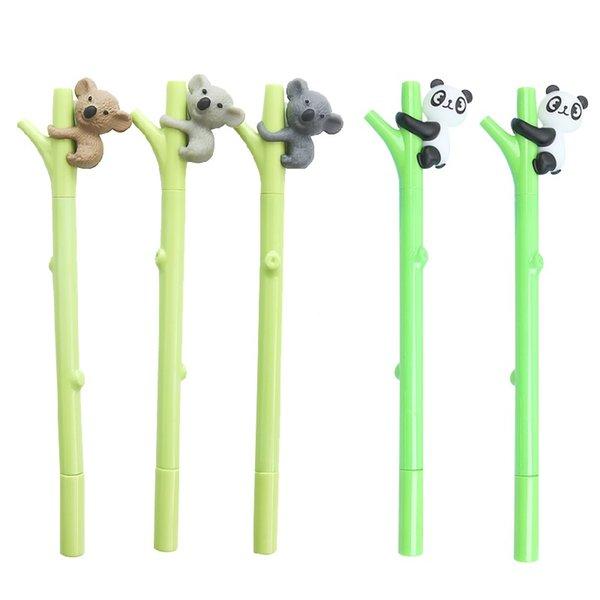 5 stücke Nette panda koala gelstift Grün baum 0,5mm kugelschreiber Schwarz farbe refill Schreibwaren Büro schulbedarf A6796