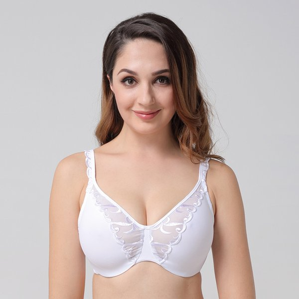 Wide Strap Plus size Embroidery Underwire Sexy Soft Full Cup Minimizer Bra Ultra-thin Breathable Lingerie Women Underwear 1227B