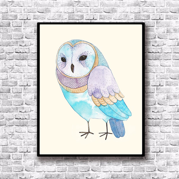 Owl Art Canvas Posters Cartoon Bird Art Prints Nordic Style Baby Kids Wall Picture for Children Bedroom Wall Decor