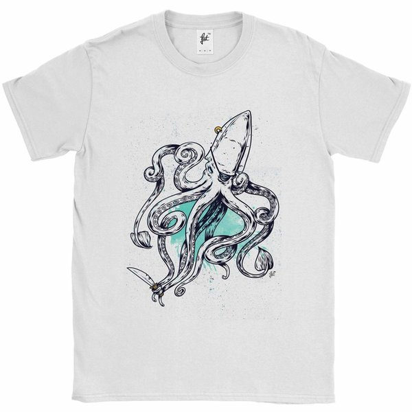 Captain Octopus 8 Legs with Patch Earring & Cutlass Mens T-Shirt T Shirt O-Neck Fashion Casual High Quality Print T-Shirt