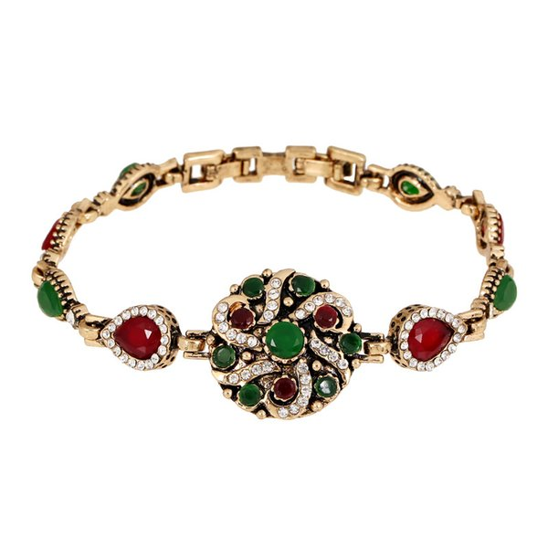 vintage trendy charms bracelets for women green natural stone alloy national wind bracelets bangles jewelry for girl gift