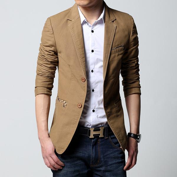 Diseño Nuevo 2018 Primavera Otoño Ropa Blazers Hombres Trajes Casual de dos botones de doble botonadura Plus Size