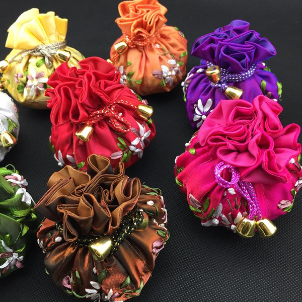 Handmade Ribbon Embroidery Round Bottom Craft Bag Drawstring Satin Gift Packaging Pouch Jewelry Ball 8 Small Storage Pocket 5pcs