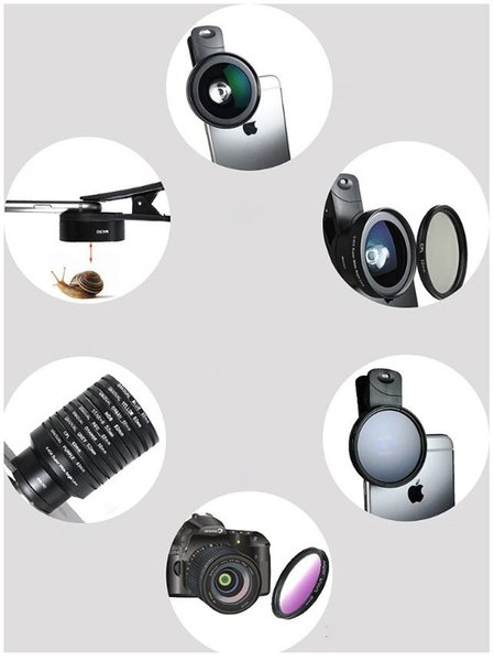 Popular universal mobile phone external camera lens set without distortion wide-angle macro lens CPL star ND8 filter 5 in 1 set