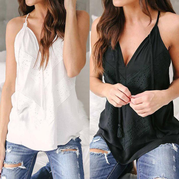 Women Summer Lace Sleeveless Vest Shirt Tank Tops Blouse T-shirt Slit Sleeve Cold Shoulder Tops Casual Loose Top Vest Tank #W