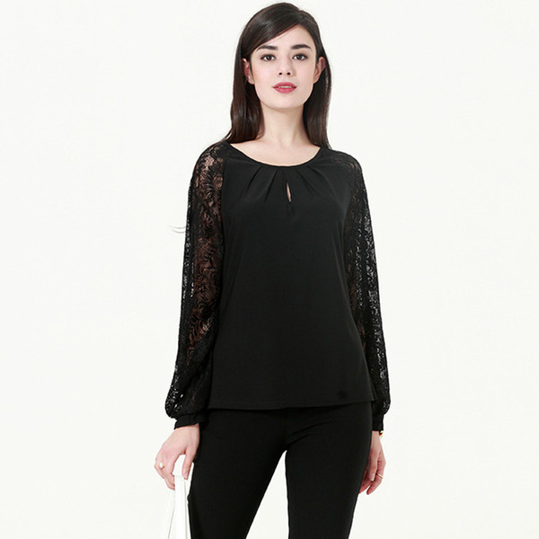 0f34c337a6d Plus Size Semi Sheer Patchwork Lace Lantern Sleeve Women Blouse O Neck  Casual Black Lace Blouse Large Size