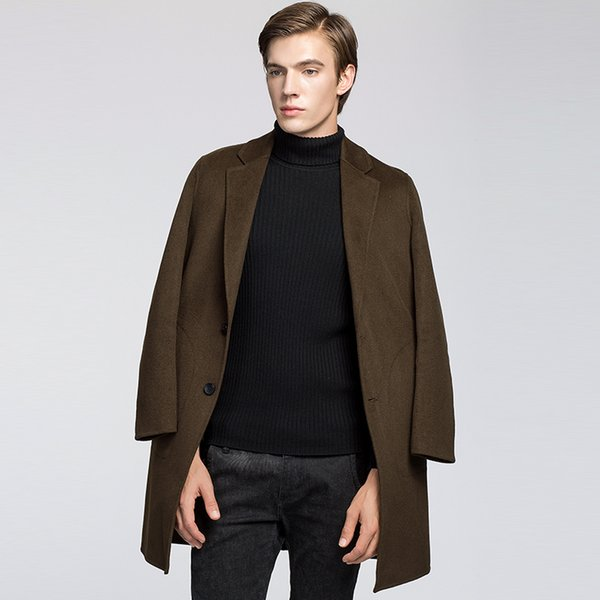 Men 's cashmere coat long paragraph woolen coat men' s suit collar large yards thickening Slim windbreaker jacket