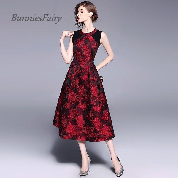 BunniesFairy 2018 Promi-inspirierte Vintage Elegent Schwere Blumenstickerei Stiching Jacquard-Kleid Hohe Taille Robe Vestidos