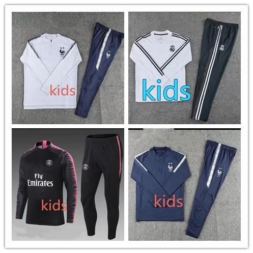 Real Madrid tracksuit kids 18-19 soccer jogging jacket MBAPPE NEYMAR JR POGBA 18/19 child Football Training suit Juventus World Cup