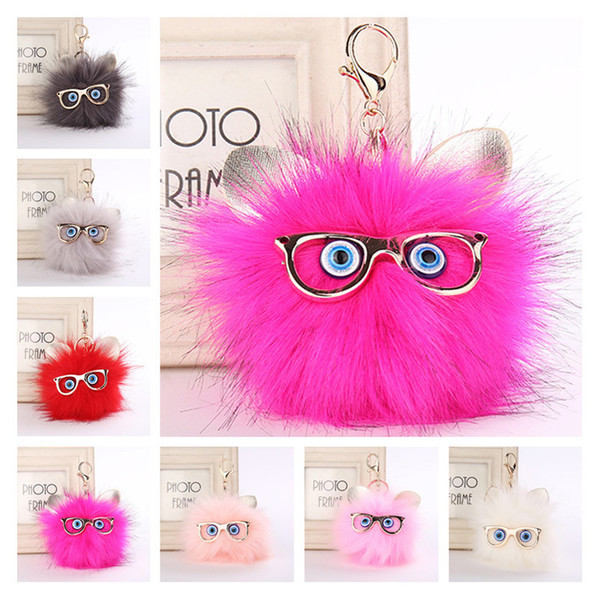 Wholesale Fluffy Ball Pom Pom Keychain Keyring 7 Styles Cut Faux Fox Fur Owl Keychain Bag Car Key Chain Charms Promotional Gifts