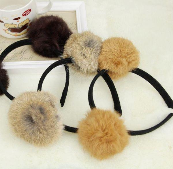 Children hair sticks girls faux rabbit fur pompon hairbands fashion kids cartoon bear ear headbands chirstmas hair accessories F2205