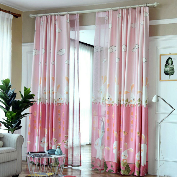 2019 Cute Blackout Cartoon Curtains For Kids Children BedRoom Living Room  Green/Pink Color Printed Rabbit Curtain Drapes Cortina From Bigmum, $16.15  | ...