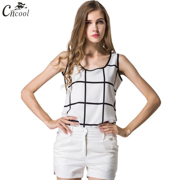 Cncool New Harajuku T-shirt sans manches pour femmes Été Tumblr Famous Chiffon Gilet à carreaux noir et blanc Pop Tank Top pour filles