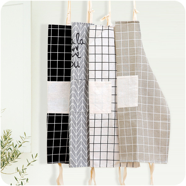 Checked Aprons For Women Creative Funny Kitchen Apron With Pocket Hand Towel Hot Household Cleaning Accessories Cooking Apron Cooking Apron Chef Apron