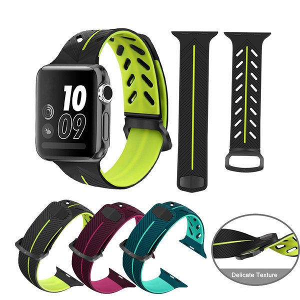 For Apple Watch Series 1 2 3 Sport Silicone Band Wrist Bracelet Strap Double-colored Sports Smart Watch Straps For iWatch 38mm 42mm