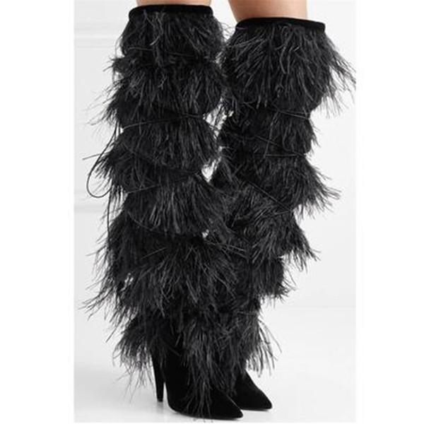 Diseñador popular estilete tacones altos de cuero de piel real mujeres botas nuevo invierno borla muslo botas altas resbalón en zapatos de flecos largos