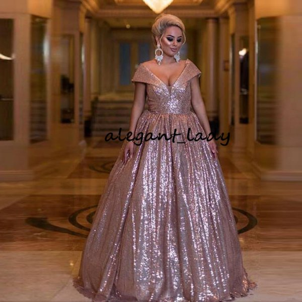 Rose Gold Sequins Ball Gown Prom Formal Dresses 2018 Modest Off Shoulder Full length Puffy Dubai Arabic Plus Size Evening Gowns