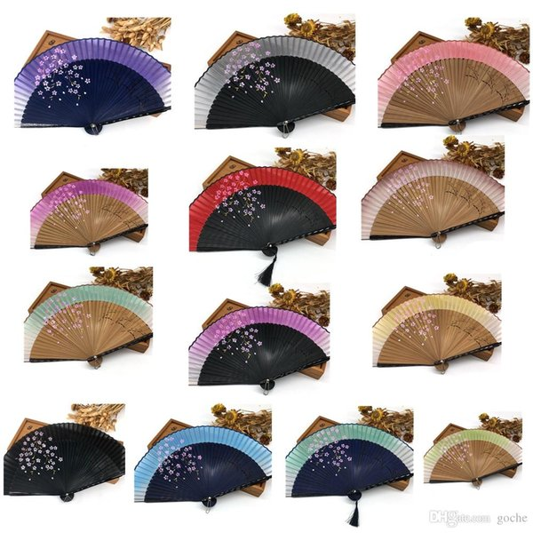 Free Shipping High Quality Japanese Silk Sakura Painting Folding Fan with Gift Bag Tassel Wedding Gifts for Guests Party