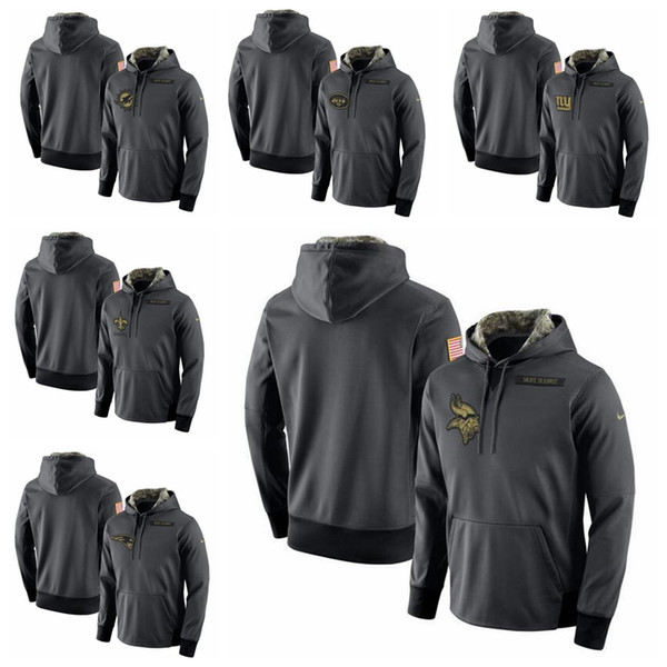 new concept aa1bf f10ee 2018 New York Jets New York Giants New Orleans Saints Patriots Minnesota  Vikings Miami Dolphins Salute To Service Player Performance Hoodie From ...