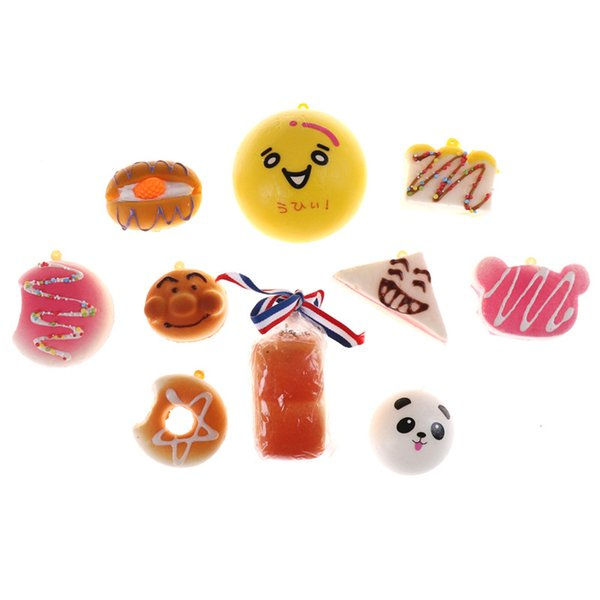 10PCS Squishy Panda Bread Slow Rising Cute Phone Straps Cake Buns Pendant Toy Kid Squeeze Scented Charms Random