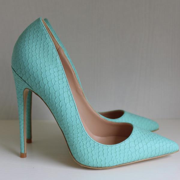 Spedizione gratuita Moda donna Casual Designer sexy lady Mint serpente pitone punta a punta tacchi alti pompe scarpe a spillo con tacco 8 cm 10 cm 12 cm