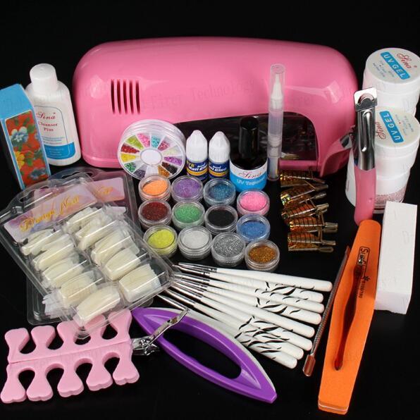 Vente en gros-Hot professionnel Set de manucure acrylique Nail Art Salon fournitures Kit outil avec lampe UV vernis à ongles Gel UV DIY Maquillage Ensemble complet