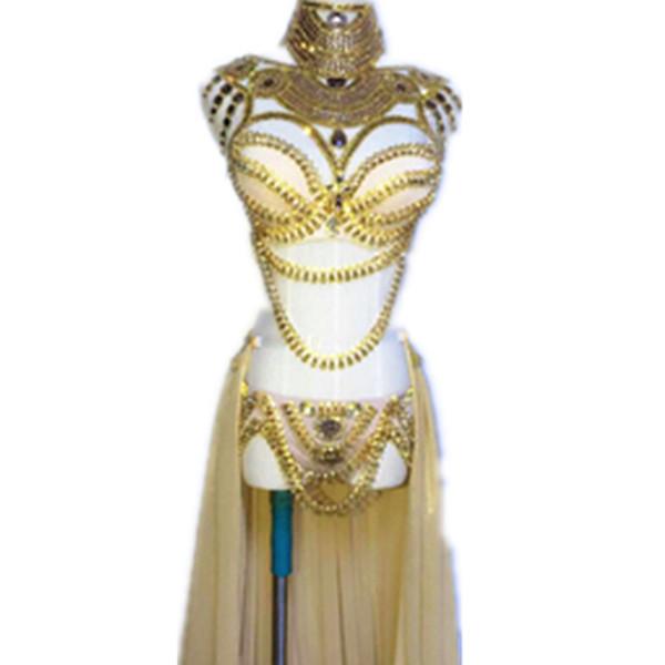 Estágio Wear Prom Sexy Lantejoula Ouro Rhinestone Outfit Bra Saia Curta Cristal Design Festa Vestido Dj Cantora Costume Nightclub
