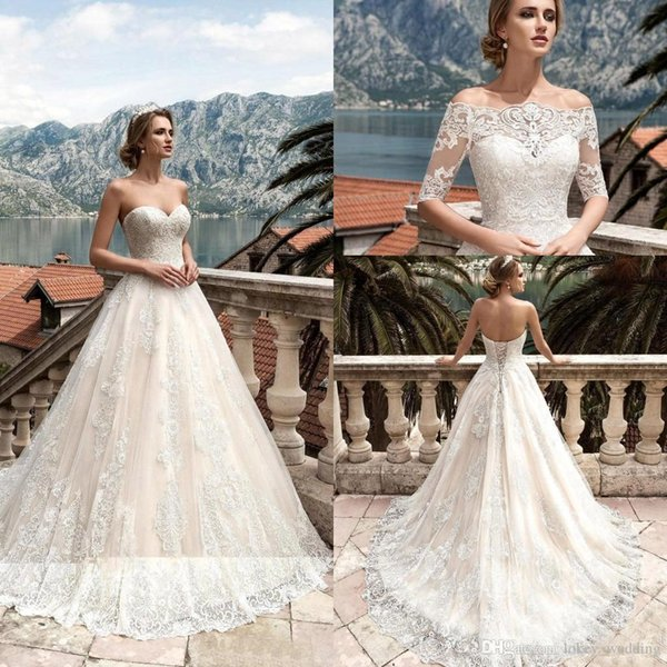 Country Beach Lace Wedding Dresses 2017 A-Line Sweetheart Court Train Lace Up Back Bridal Gown With Removable Jacket robes de mariée