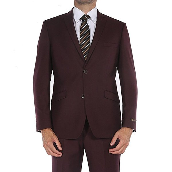 Burgundy Evening Party Formal Wedding Men Suits 2018 Latest Style Two Piece Trim Fit Custom Made Wedding Tuxedos (Jacket + Pants)
