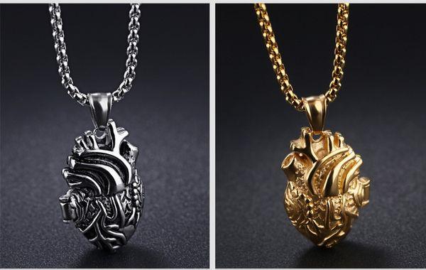 Pendentif anatomique en or coeur avec pendentif coeur noir / or / argent, style médaillon en acier inoxydable