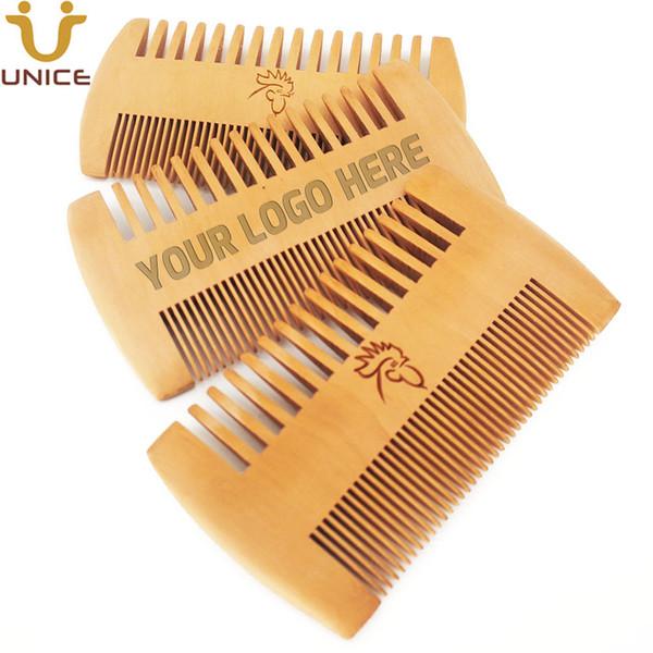 top popular MOQ 50pcs Amazon Hot Sale Fine & Coarse Teeth Double Sides Wood Combs Custom LOGO Wooden Hair Comb Dual Sided Men Beard Comb 2020