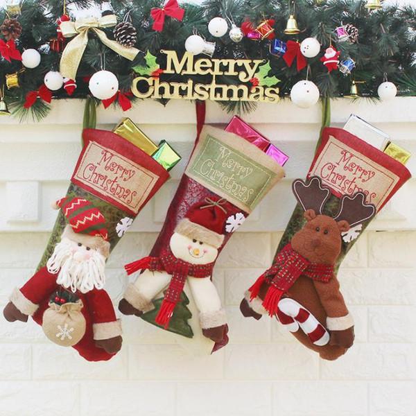 Noel Çorap El Yapımı El Sanatları Çocuk Şeker Hediye Noel Çanta Baba Kardan Adam Geyik Çorap Çorap Noel Ağacı Dekorasyon oyuncak hediye # 48