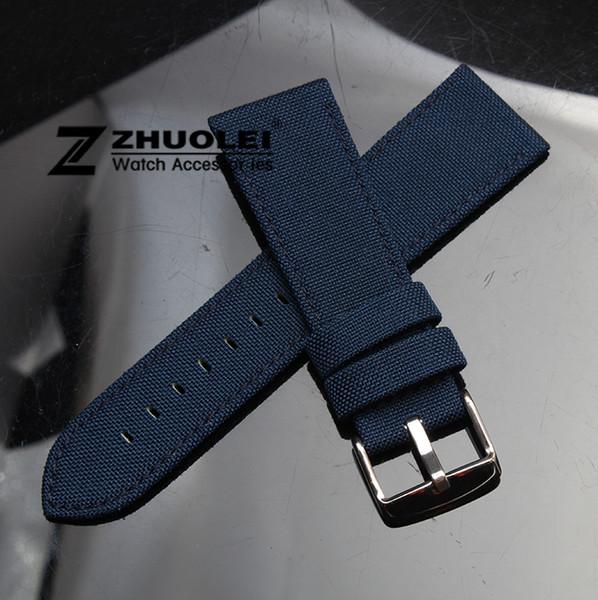18mm 20mm 22mm 24mm Koyu mavi Naylon Tuval Dayanıklı Spor Yastıklı Izle Kayışı rahat Deri Astar mens watch band