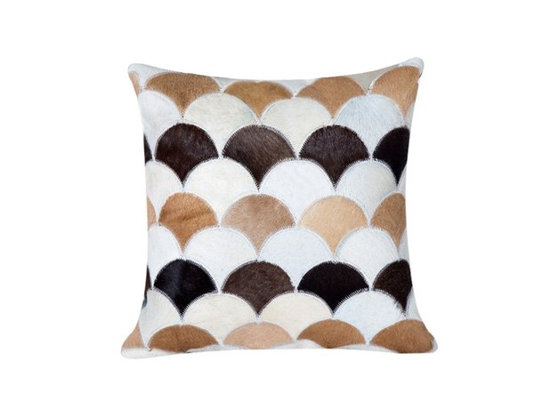 Brown Creamy Beige White Cowhide Leather Patchwork Cow Fur Skin Hair Pillowcase 50x50cm Pillow Case