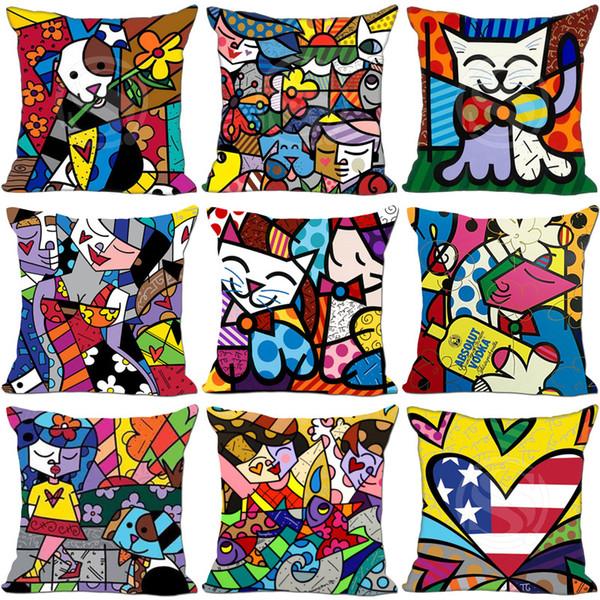 Cartone animato stampato federa Caso Romero Britto stile famiglia divano Decor Cuscino Cotone Lino fila 6my Ww