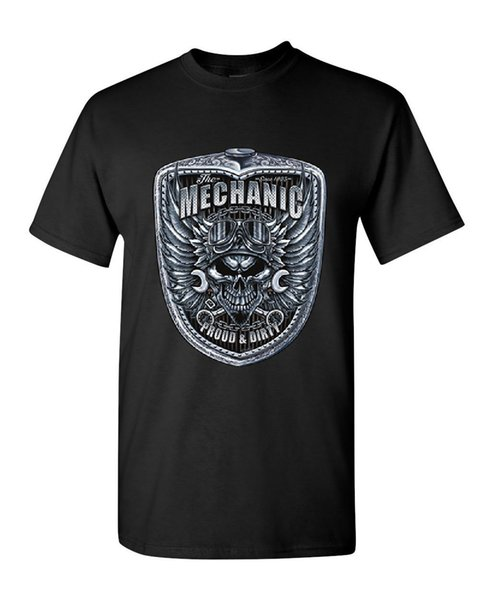 Mechanic Proud & Dirty T-Shirt Skull And Wings Engine Motor Cars Casual Plus Size T-Shirts Hip Hop Style Tops Tee S-2Xl