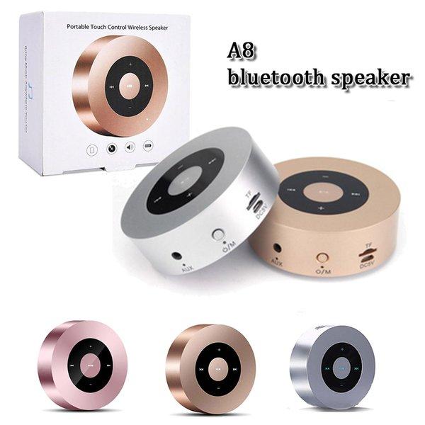 Moda Top quality bluetooth sem fio A8 speaker super bass teclas de toque inteligente música MP3 speaker handfree com altofalantes de cartão SD microfone surpport