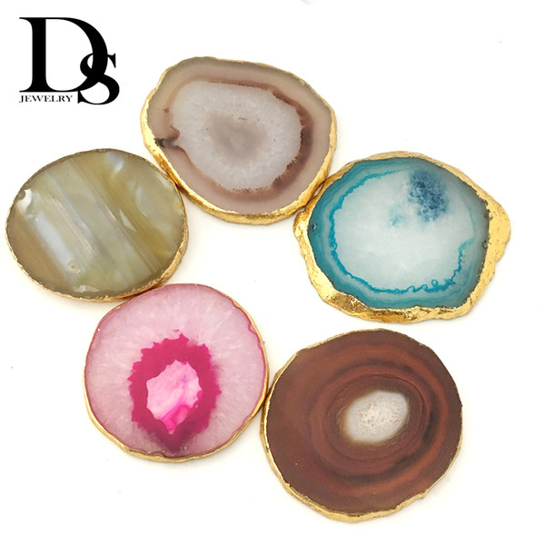 7-9 cm Natural Agate Slice adiabatic Cup Mat Gold Crystal Geode Plate Jade Carnelian Coaster Electroplated Golden edge Table Decoration