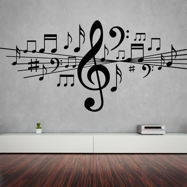 Musical Notes Removable Wall Stickers for Living Room Home Decor Vinyl Decals Studio Bedroom Dance Art Gift Poster K518