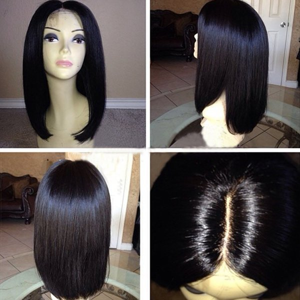 Full Lace Wigs Bob Glueless Short Silky Straight Brazilian Human Hair Lace Front Wigs with Baby Hair for Women Middle Part