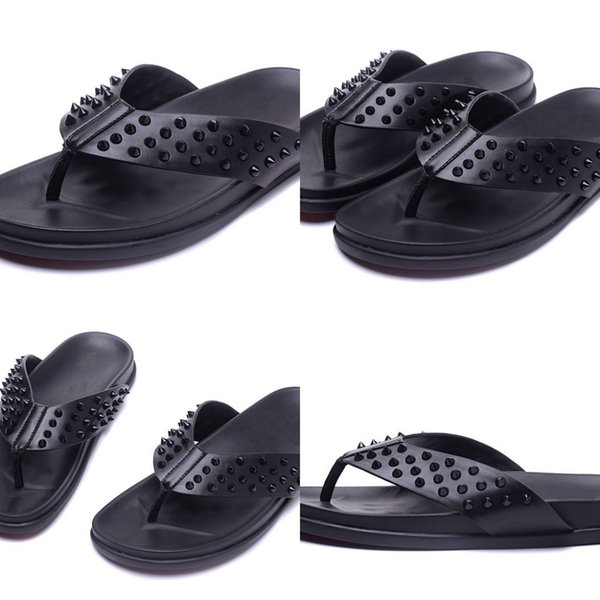 Mens Black Leather With Spikes Beach Slippers Causal Shoes Brand Design Red Bottom Sandals Summer Flip Flop Shoes 39-47 Free delivery