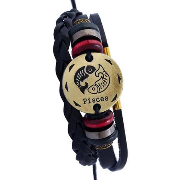 2017 Virgo/Sagittarius/Aquarius/Scorpio/Libra/Capricorn 12 Constellation Bracelet Men Women Braided Leather Bracelets & Bangles
