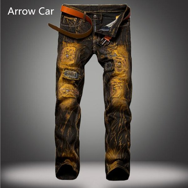 Aroow Car Jeans Men's Brand Hole European Style Old Slim Straight Jeans Cotton Tie-dye Men Pants Plus Size 38 40 42