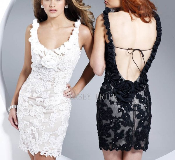 free shipping 2018 unique wedding party formal backless design short mini Sexy lace black and white party dress Cocktail Dresses